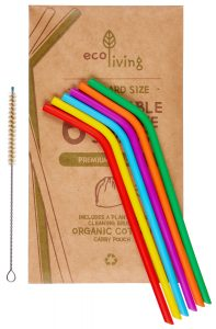 ECOLIVING SILICONE STRAWS & CLEANING BRUSH - PACK OF 6